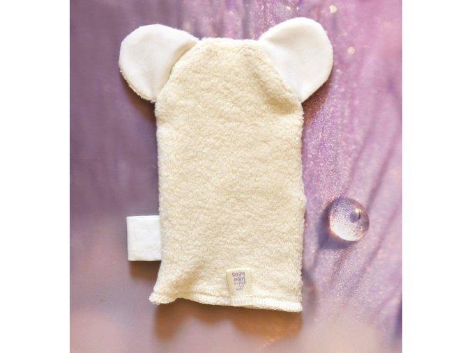 Koupací rukavička s oušky z bio bavlny