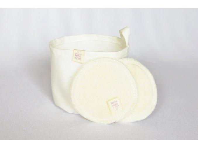 Látkový košíček do koupelny a odličovací tampónky