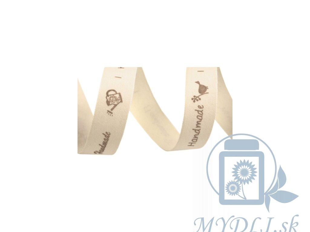 bavlnená stuha s hand made nápisom natural