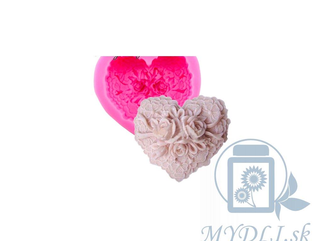 srdce s ružami silikonova forma