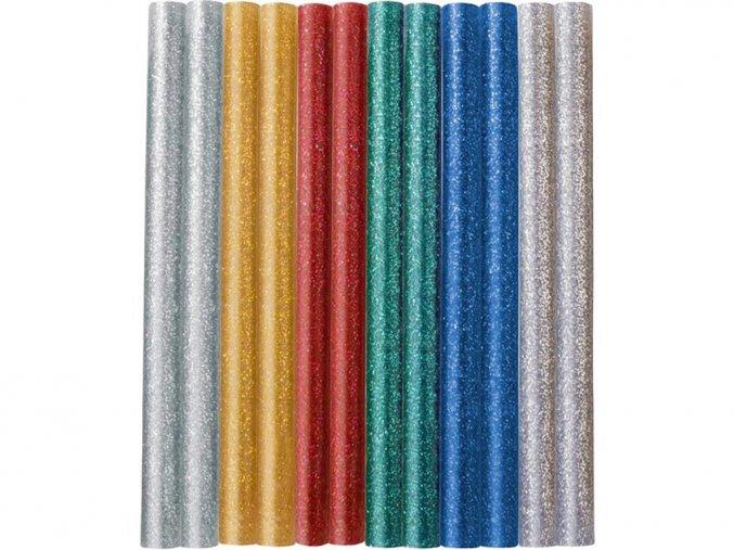 Tavné lepící tyčinky glitrové, 7x100 mm, 6 kusů