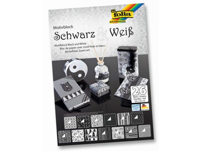 Blok s motivem Černá a Bílá - 270 g/m2 a 80 g/m2, 26 listů, 24 x 34 cm