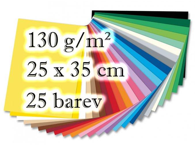 Folia - Barevné papíry - 130 g/m2, 25 barev, 25 x 35 cm