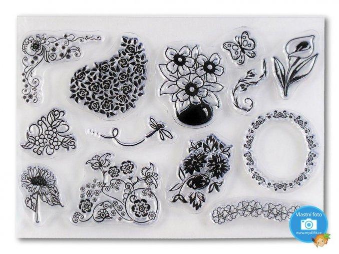 Folia 30113 - sada gelových razítek motiv Květiny
