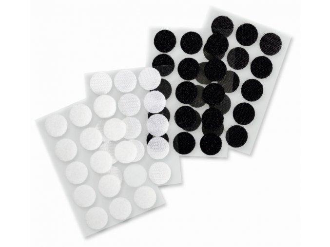 Folia - Samolepící suchý zip - černé a bílé puntíky - 30 kusů