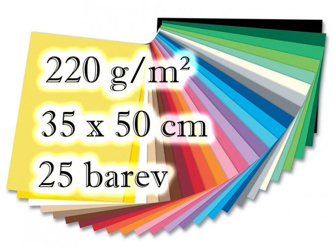 Folia - Barevný karton - 220 g/m2, 25 barev, 35 x 50 cm