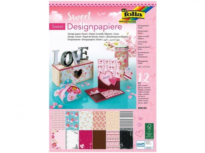 Folia 11249 - Designové papíry s třpytkami, 12 listů, A4