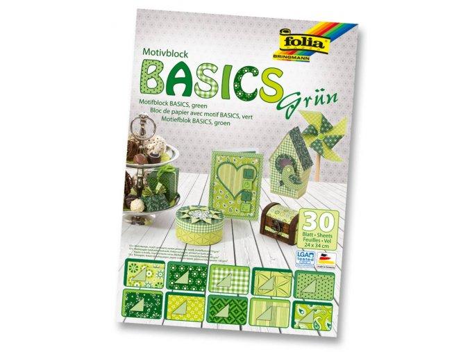 Folia 46549 - Blok s motivem BASICS Zelená - 30 listů, různá gramáž, 24x34 cm