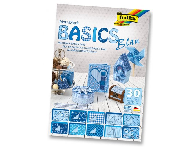 Folia 46449 - Blok s motivem BASICS Modrá - 30 listů, různá gramáž, 24x34 cm
