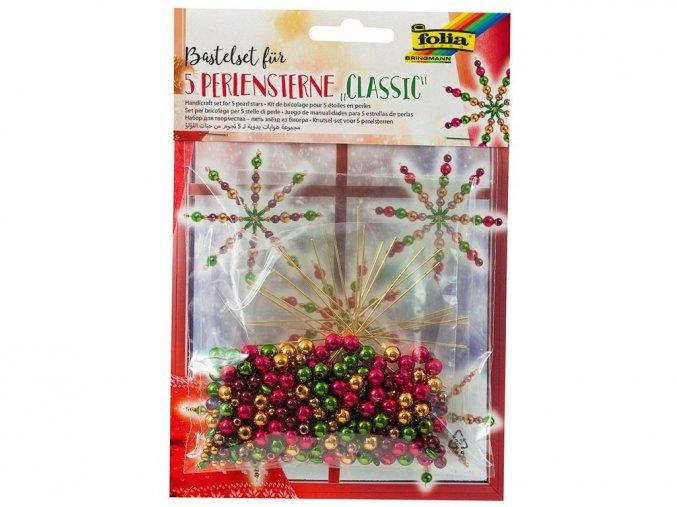 Folia 12540 - Sada na výrobu hvězd z perliček - barvy klasické vánoční