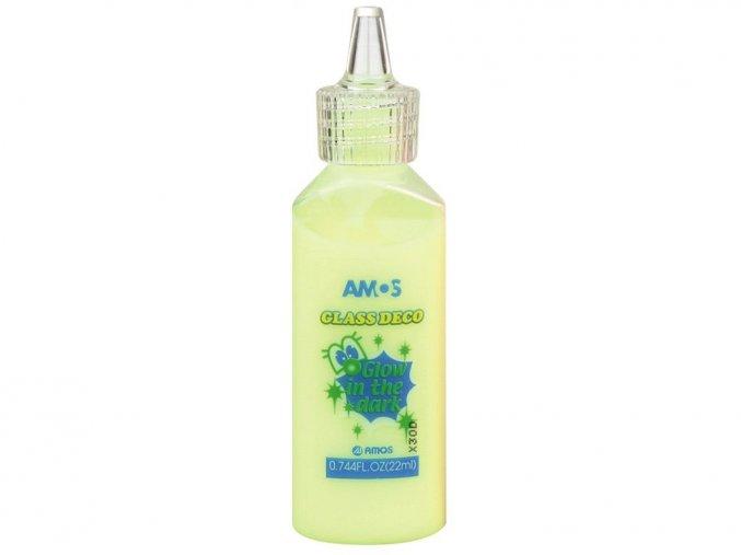 AMOS 1541 - Slupovací barva na sklo svítící ve tmě - žlutá, 22 ml