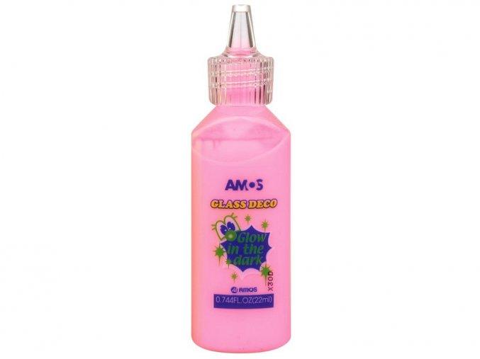 AMOS 1541 - Slupovací barva na sklo zářící ve tmě - růžová, 22 ml