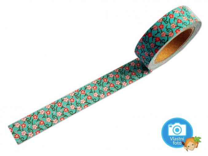 Folia 26028 -  Washi Tape - dekorační lepicí páska - 10 m x 15 mm - květiny