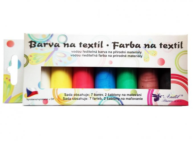 Anděl 6107 - Barvy na světlý textil, perleťové, 7x15 g + šablony