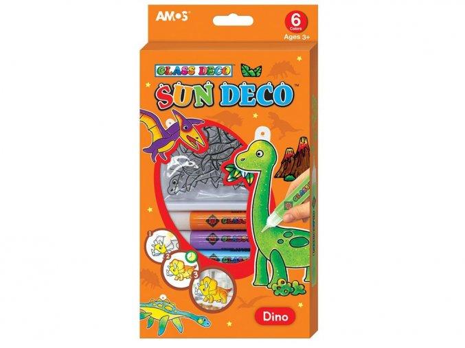 Anděl 6597 Souprava barev na sklo 6 ks + šablonky Dino