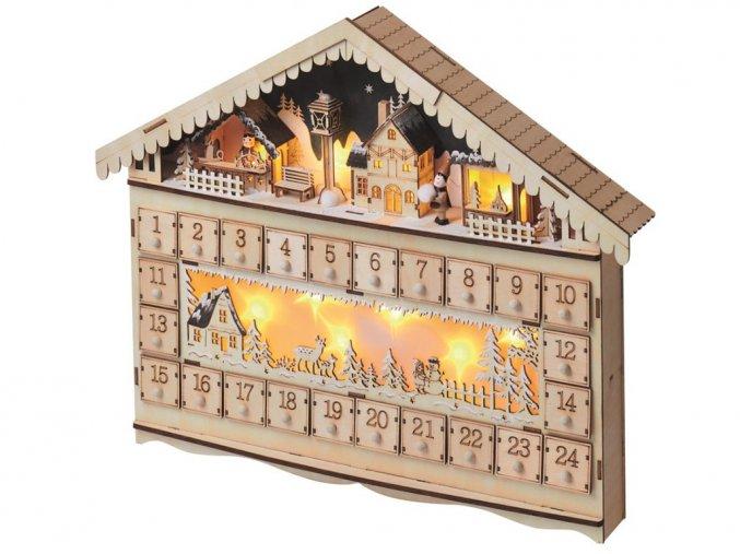 Anděl 11387 - Adventní kalendář dřevěný, 50x40 cm, 10 LED teplá bílá + časovač