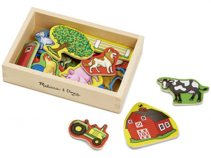 Melissa and Doug 19279 - Dřevěné magnety Farma 20 ks