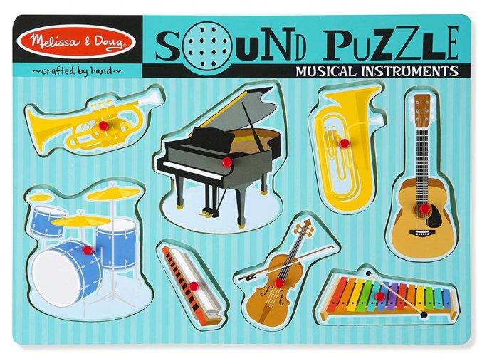 Melissa and Doug 10732 - Dřevěné puzzle se zvuky - Hudební nástroje
