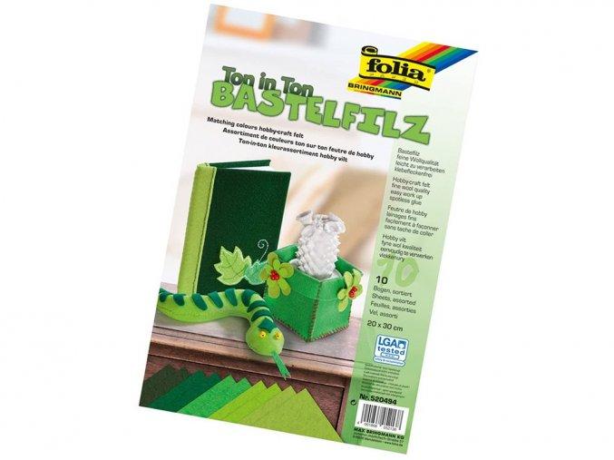 Folia 520494 - Dekorační filc tón v tónu - zelená, 10 listů