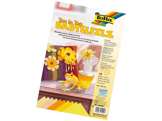 Folia 520491 - Dekorační filc tón v tónu - žlutá, 10 listů