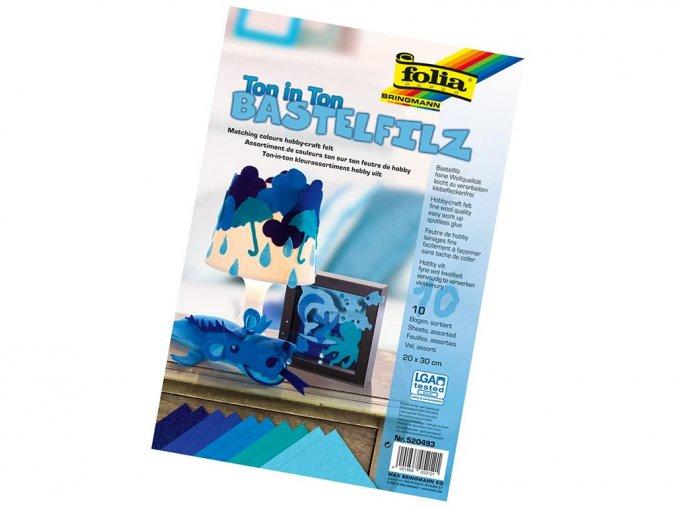 Folia 520493 - Dekorační filc tón v tónu - modrá, 10 listů