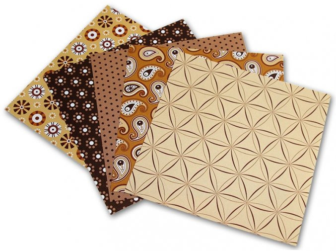 Origami papír Basics 80 g/m2 - 15 x 15 cm, 50 archů - hnědý