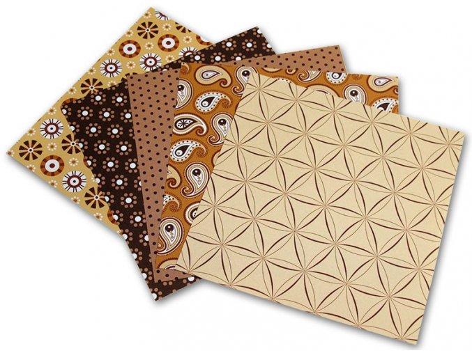 Origami papír Basics 80 g/m2 - 10 x 10 cm, 50 archů - hnědý