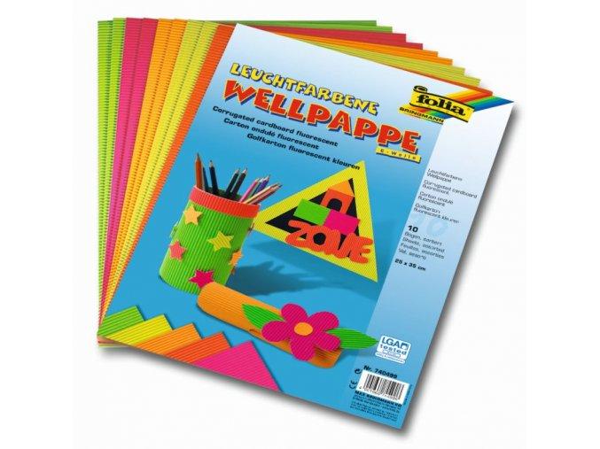 Vlnité papíry svítící barvy 25 x 35 cm, 10 listů v 5ti barvách