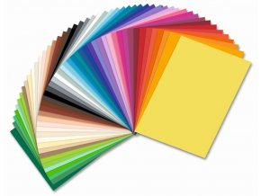 Barevné papíry - 130 g/m2, 50 listů, 50 barev, 25 x 35 cm