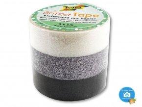 Folia 28503 - Třpytivé washi pásky - bílá, stříbrná, černá