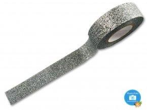 Folia 28509 - dekorační lepící glitrová washi páska stříbrná