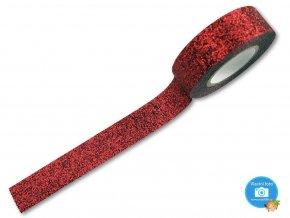 Folia 28509 - dekorační lepící glitrová washi páska červená