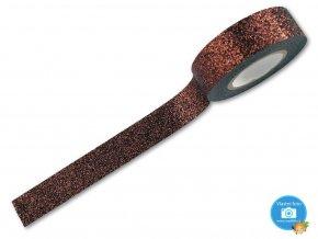 Folia 28509 - dekorační lepící glitrová washi páska hnědá