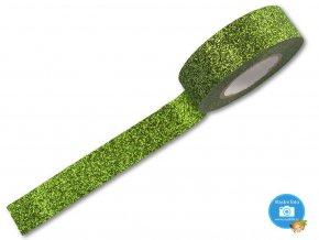 Folia 28509 - dekorační lepící glitrová washi páska světle zelená