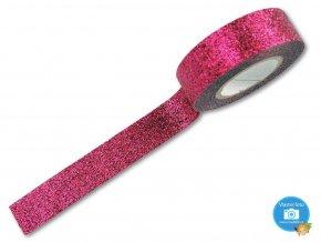 Folia 28509 - dekorační lepící glitrová washi páska TMAVĚ RŮŽOVÁ