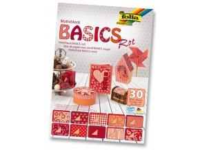 Folia 46249 - Blok s motivem BASICS Červená - 30 listů, různá gramáž, 24x34 cm