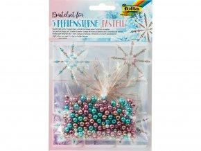 Folia 12550 - Sada na výrobu hvězd z perliček - barvy pastelové