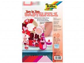 Folia 520492 - Dekorativni filc tón v tónu - červená, 10 listů
