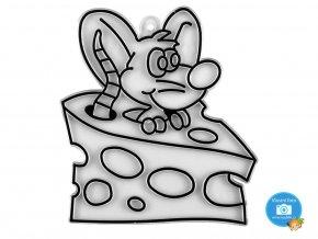 závěsná šablona pro barvy na sklo - myš v sýru
