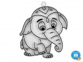 závěsná šablona pro barvy na sklo - slon
