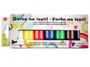 Anděl 6105 - Barvy na světlý textil, 7x15 g + šablony