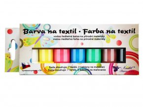 Anděl 6108 - Barvy na tmavý textil, 7x15 g + šablony