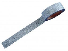 Folia 28001 - Washi Tape - dekorační lepící glitrová páska se třpytkami - STŘÍBRNÁ