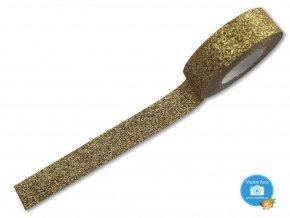 Folia 28002 - dekorační lepící glitrová washi páska zlatá