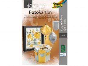 Folia 611 - Fotokarton blok A4 - zlatá a stříbrná, 10 listů
