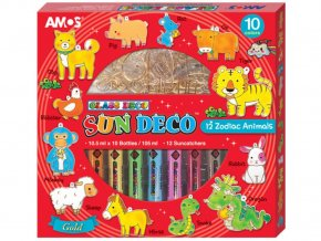 Amos 6418 - Sada Barvy na sklo + sklíčka čínský Zvěrokruh