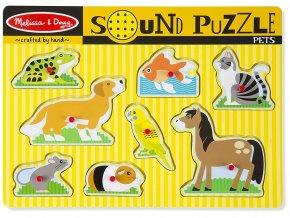 Melissa and Doug 10730 - Dřevěné puzzle se zvuky - Domácí zvířátka