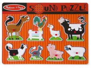 Melissa and Doug 10726 - Dřevěné puzzle se zvuky - zvířata z farmy