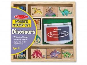Melissa and Doug 11633 - Dřevěná razítka v krabičce Dinosauři