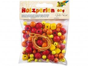 Folia 22971 - Dřevěné korálky - žlutá/červená, 60 g